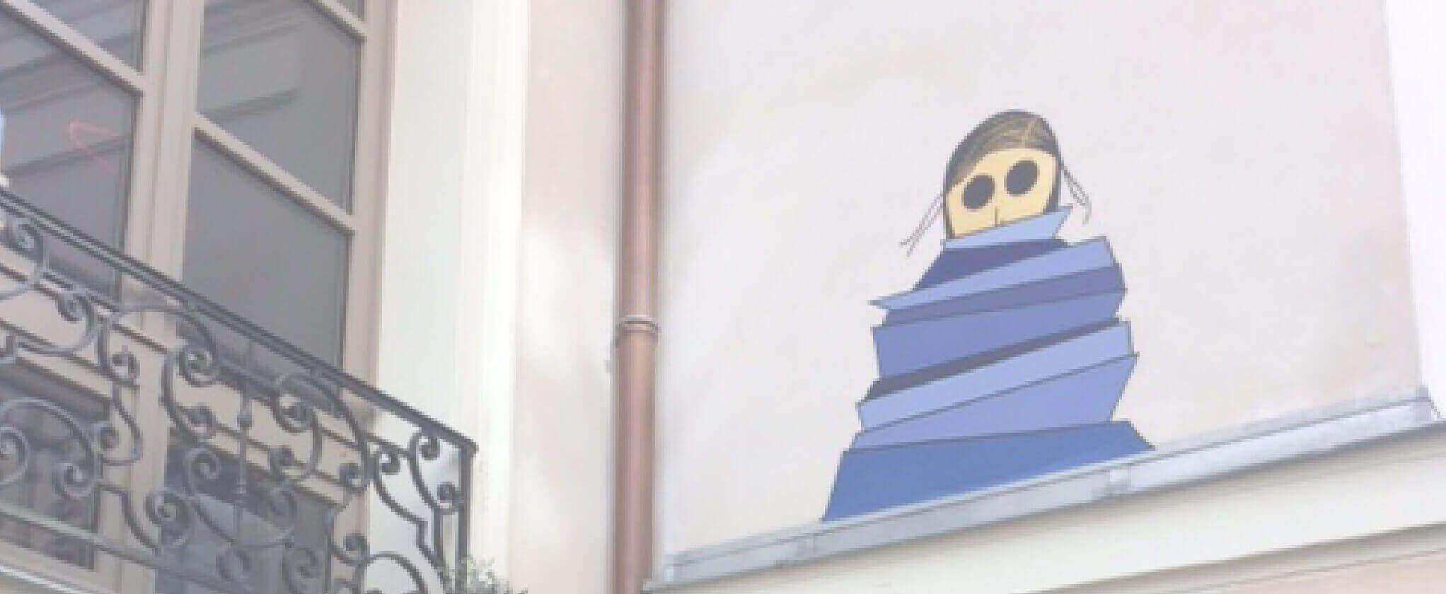 ソルボンヌのアパートの壁に描かれた絵