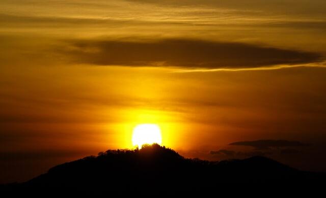 太田市の金山の夕焼け
