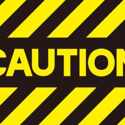 cautionと書いてあるバナー